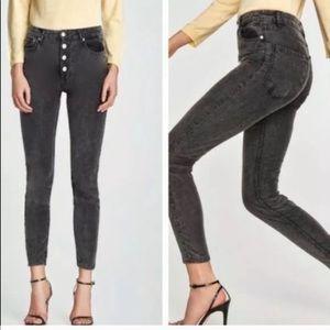 Zara high waisted button fly  velvet skinny jeans